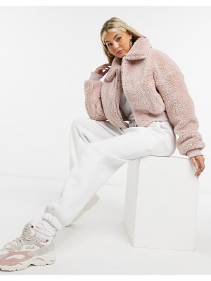 Collusion teddy jacket in pink