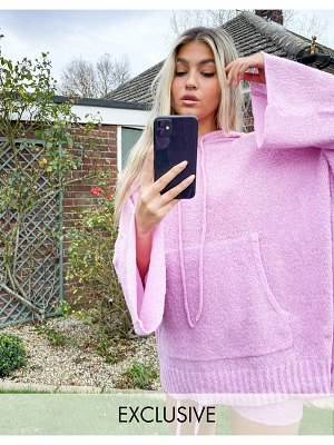 Collusion textured knitted hoodie in pink