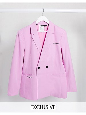 Collusion unisex blazer with typo print in pink