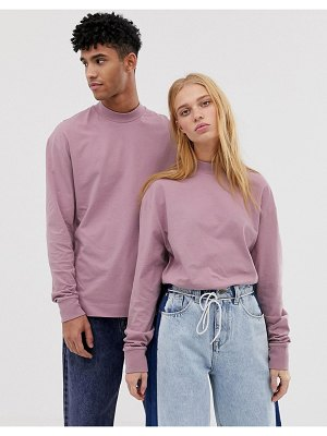 Collusion unisex high neck long sleeve t-shirt in dusky pink