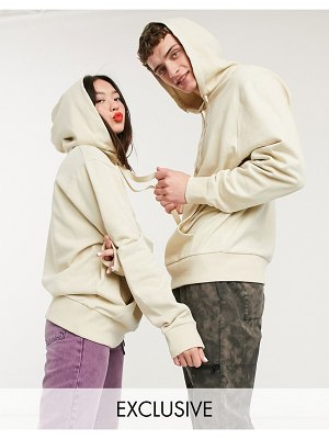 Collusion unisex hoodie in stone-neutral