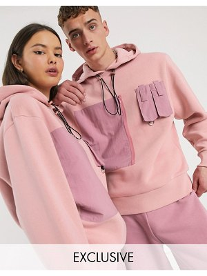 Collusion unisex hoodie with nylon pockets-pink