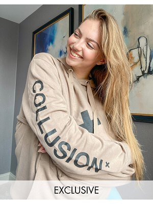 Collusion unisex logo hoodie in brown