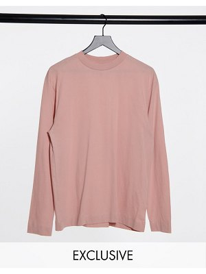 Collusion unisex long sleeve t-shirt in dusty pink