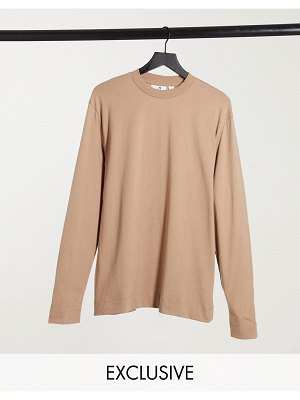 Collusion unisex long sleeve t-shirt in light brown