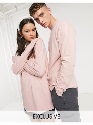 Collusion unisex long sleeve t-shirt in light pink