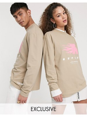 Collusion unisex long sleeve t-shirt with reflex print in washed pique fabric-stone
