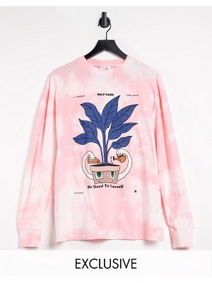 Collusion unisex oversized long sleeve t-shirt with print in pink tie dye