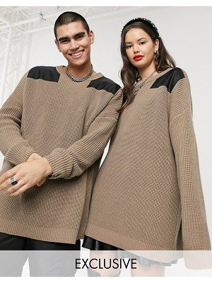 Collusion unisex oversized sweater with nylon detail in stone