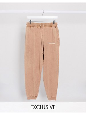 Collusion unisex oversized sweatpants in washed tan-brown