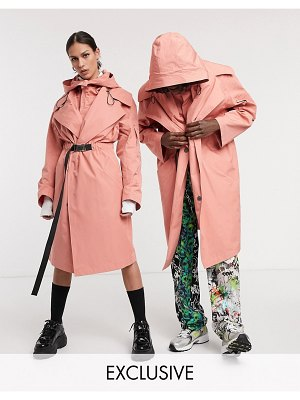 Collusion unisex oversized utiliy parka-pink