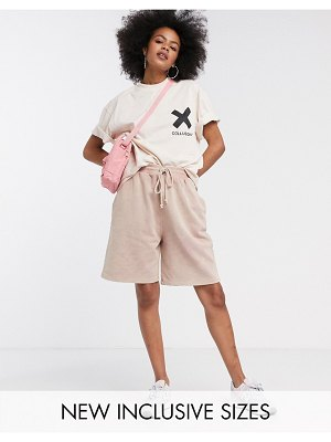 Collusion unisex oversized washed shorts-brown