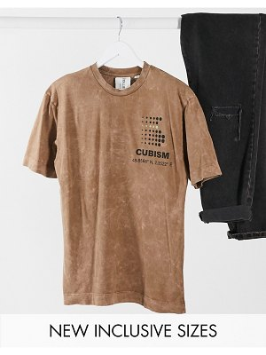 Collusion unisex t-shirt with print in brown