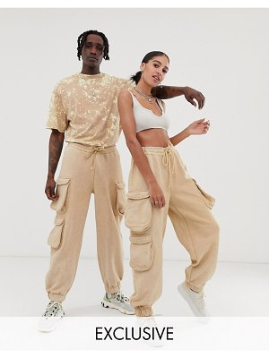 Collusion unisex utility sweatpants in washed stone