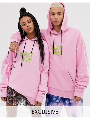 Collusion unisex washed hoodie with print in pink