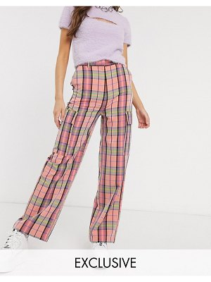 Collusion wide leg check pants-pink