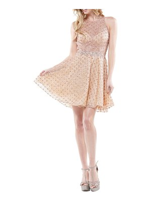 Colors Dress diamond gridded sequin party dress