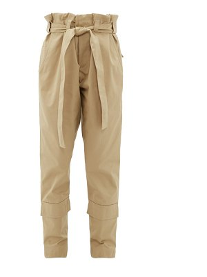 COLVILLE paperbag-waist belted cotton-twill trousers