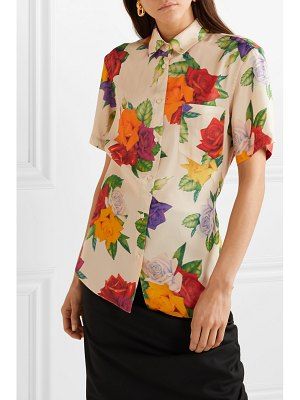 Commission banker floral-print satin-twill shirt