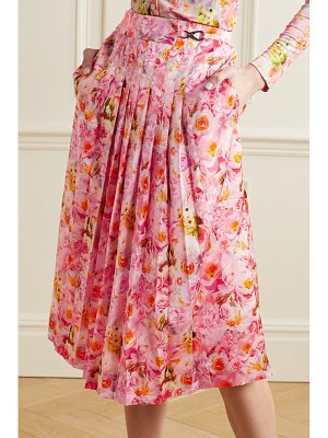 Commission belted pleated floral-print satin midi skirt