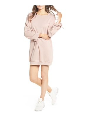 COTTON EMPORIUM Ruched Sleeve Sweatshirt Dress