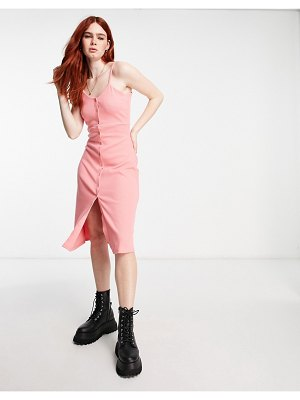 Cotton:On cotton: on strappy button through midi dress in pink