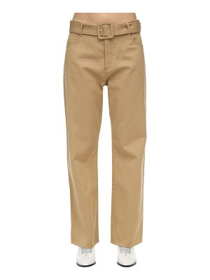 Courreges Belted cotton twill wide leg pants
