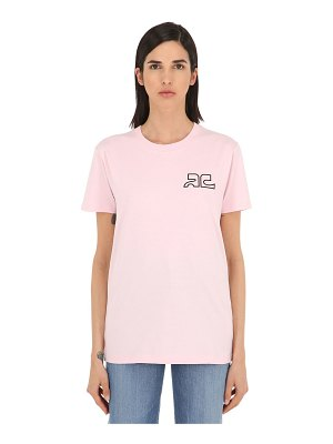 Courreges Logo print cotton jersey t-shirt