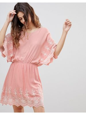 Crescent Embroidered Flutter Dress