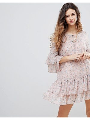 Crescent floral print chiffon ruffled dress