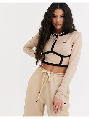 Criminal Damage long sleeve crop top with contrast panels two-piece-beige