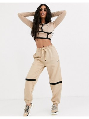 Criminal Damage relaxed sweatpants with open knee two-piece-beige