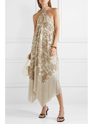 Cult Gaia ali fringed embroidered fil coupé canvas halterneck maxi dress