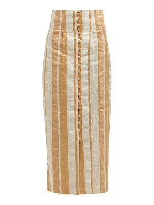 Cult Gaia hera striped button front midi skirt