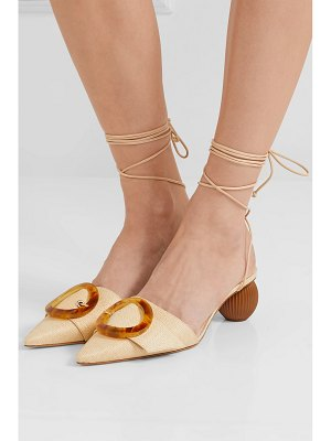 Cult Gaia liya woven raffia and leather pumps