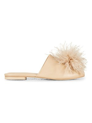 Cult Gaia ray feather-trimmed leather mules