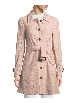 CUPCAKES AND CASHMERE Auretta Button-Front Belted Lace Pea Coat