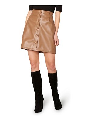cupcakes and cashmere joanie front button faux leather miniskirt