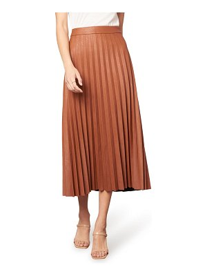 cupcakes and cashmere trinity faux leather pleated midi skirt