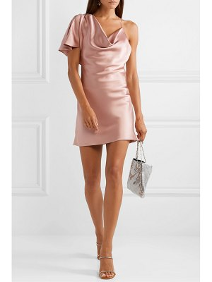 Cushnie asymmetric draped silk-satin mini dress