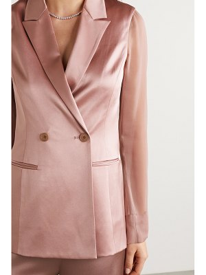 Cushnie double-breasted silk-charmeuse and chiffon blazer