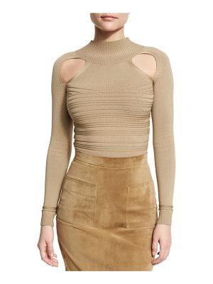 Cushnie et Ochs Ribbed Mock-Neck Thong Bodysuit with Cutouts
