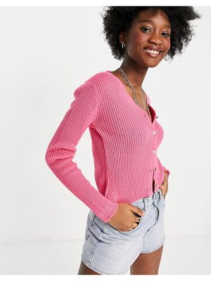 Daisy Street 90's cropped cardigan-pink