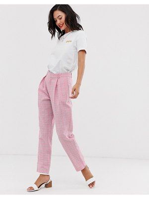 Daisy Street high waist tapered pants in check-pink