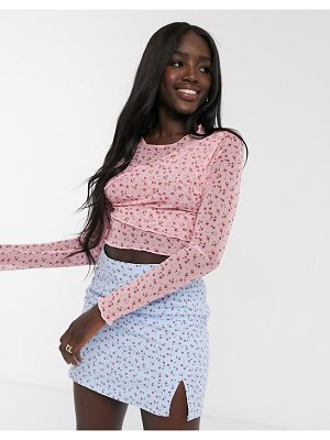 Daisy Street long sleeve top in ditsy floral mesh-pink