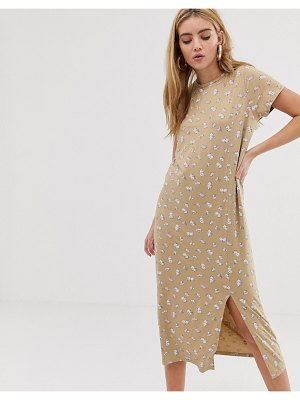 Daisy Street midi t-shirt dress with split in floral print