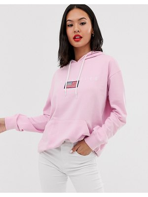 Daisy Street oversized hoodie with la graphics-pink