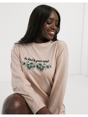 Daisy Street oversized long sleeve t-shirt dress with be kind print-beige