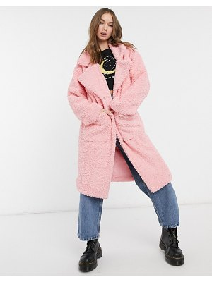 Daisy Street oversized longline coat in teddy fleece-pink