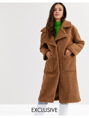 Daisy Street oversized longline coat in teddy fleece-brown